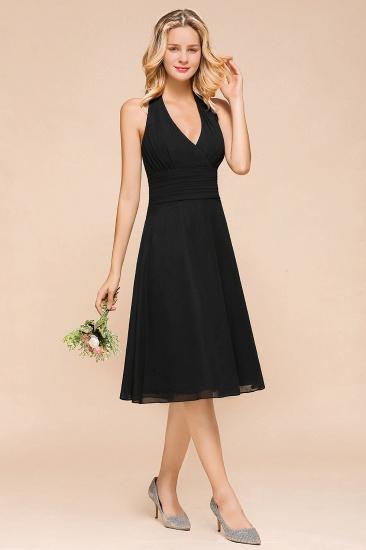BMbridal Affordable Halter V-Neck Black Short Bridesmaid Dresses Online_5