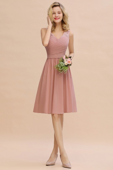 Affordable V-Neck Sleeveless Ruffles Short Lace Bridesmaid dresses Online_1