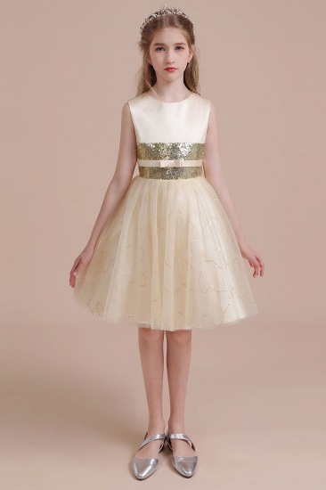 BMbridal A-Line Cute Sequins Tulle Flower Girl Dress Online_4