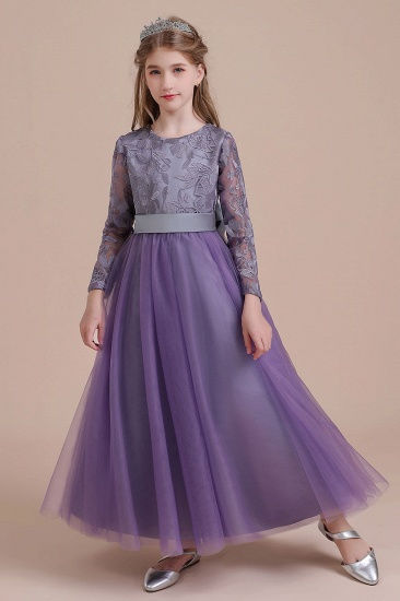 BMbridal A-Line Long Sleeve Ankle Length Flower Girl Dress On Sale_1