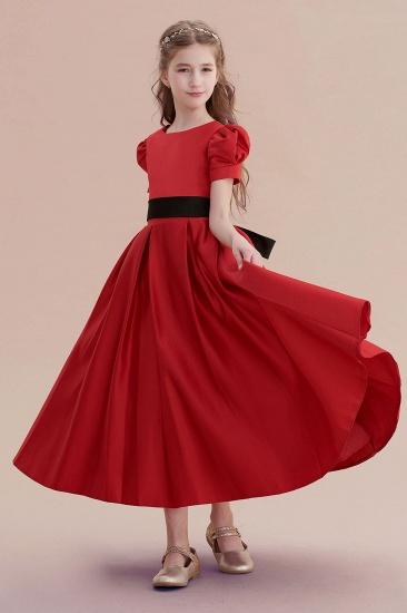 BMbridal A-Line Awesome Short Sleeve Satin Flower Girl Dress Online_7
