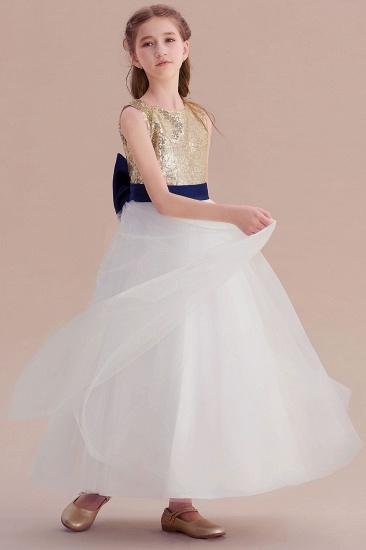 BMbridal A-Line Bow Sequins Ankle Length Flower Girl Dress Online_7