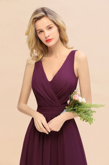 BMbridal Affordable V-Neck Ruffle Long Grape Chiffon Bridesmaid Dress with Bow_8