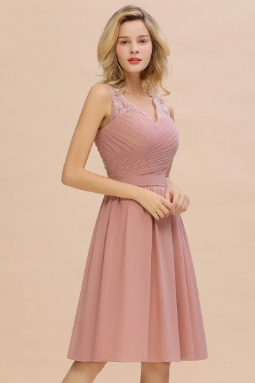 Affordable V-Neck Sleeveless Ruffles Short Lace Bridesmaid dresses Online_8