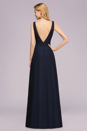 Modest Chiffon V-Neck Long Bridesmaid Dress Online with Beadings_2