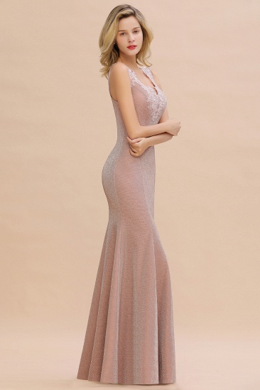BMbridal Dusty Pink Shinning Long Prom Dress Mermaid With Appliques_13