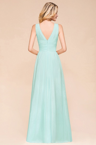 Chic V-Neck Sleeveless Mint Green Bridesmaid Dresses with Ruffle_3