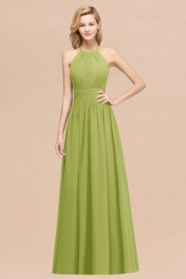 Elegant High-Neck Halter Long Affordable Bridesmaid Dresses with Ruffles_34