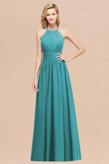 Elegant High-Neck Halter Long Affordable Bridesmaid Dresses with Ruffles_32