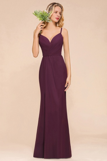Fantastic Spaghetti Straps V-Neck Grape Bridesmaid Dress with Ruffle_4