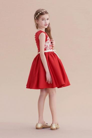 BMbridal A-Line Affordable Appliques Satin Flower Girl Dress Online_8