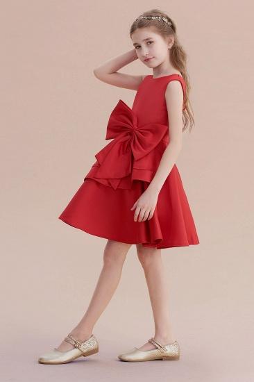 BMbridal A-Line Chic Bow Satin Knee Length Flower Girl Dress On Sale_6