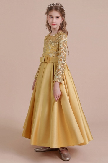 BMbridal A-Line Long Sleeve Satin Ankle Length Flower Girl Dress Online_5