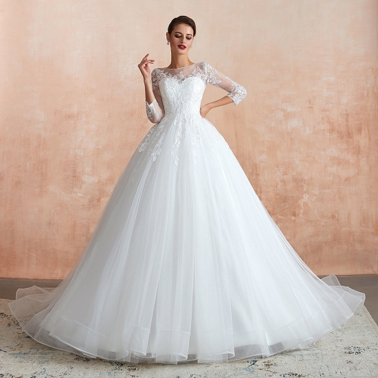 Affordable Lace Jewel White Tulle Wedding Dresses with 3/4 Sleeves_6