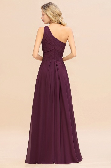 Chic One Shoulder Ruffle Grape Chiffon Bridesmaid Dresses Online_52