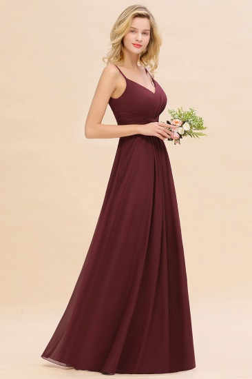 BMbridal Modest Ruffle Spaghetti Straps Backless Burgundy Bridesmaid Dresses Affordable_55