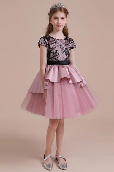 BMbridal A-Line Cap Sleeve Lace Tulle Knee Length Flower Girl Dress On Sale_1