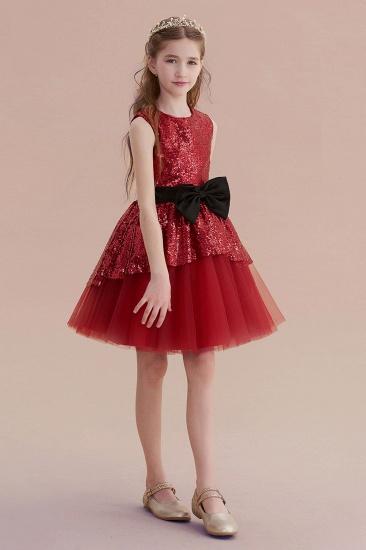 BMbridal A-Line Bows Sequins Tulle Flower Girl Dress On Sale_6