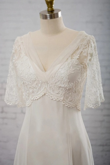 BMbridal Elegant Empire V-neck Tulle Wedding Dress A-line Appliques Short Sleeves Bridal Gowns On Sale_4