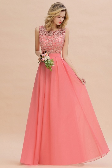 Exquisite Lace Scoop Sleeveless Bridesmaid Dresses Online with Ruffle_4