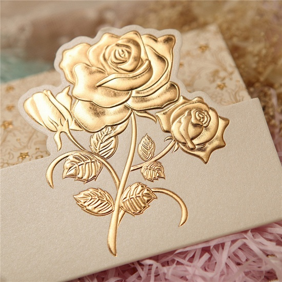 Classic Tri-Fold Flower Style Invitation Cards (Set of 50)_2