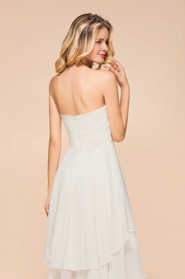 Affordable Hi-Lo Layer Ruffle Ivory Short Bridesmaid Dress with Flower_9