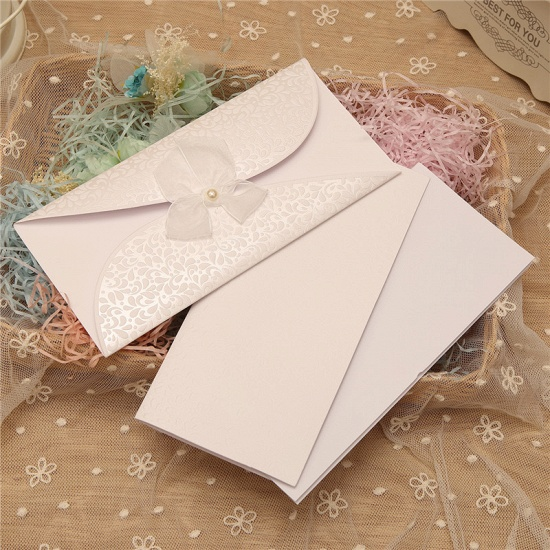 BMbridal Classic Tri-Fold Invitation Cards Pearl Bowknot Style (Set of 50)_1