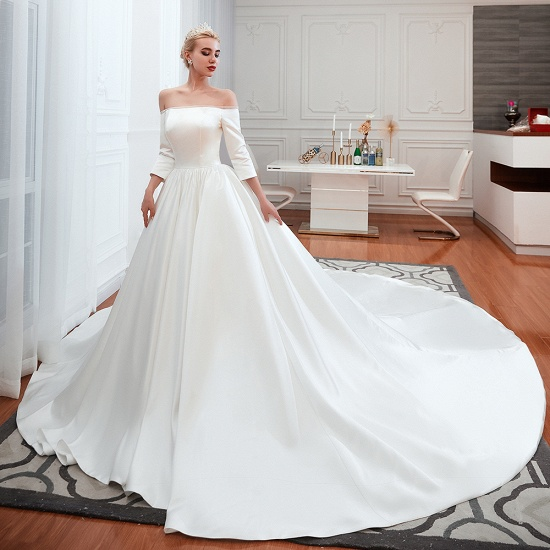 BMbridal Elegant 3/4 Sleeves Princess Satin Wedding Dress Online_8