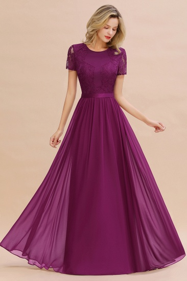 Elegant Chiffon Lace Jewel Short-Sleeves Affordable Bridesmaid Dress_42