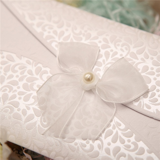 BMbridal Classic Tri-Fold Invitation Cards Pearl Bowknot Style (Set of 50)_4