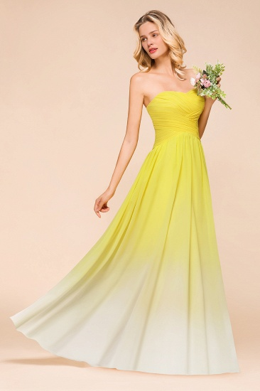 Fashionable Sweetheart Ruffle Yellow Ombre Bridesmaid Dress_5