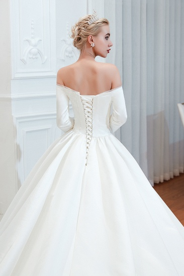 BMbridal Elegant 3/4 Sleeves Princess Satin Wedding Dress Online_12