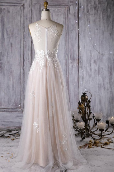 BMbridal Chic Ruffle Floor Length Tulle A-line Wedding Dress Online_3