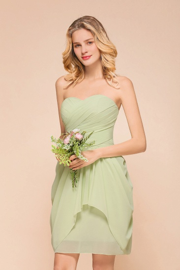 BMbridal Chic Chiffon Sweetheart Short Bridesmaid Dresses with Ruffle_5