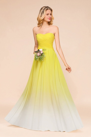 Fashionable Sweetheart Ruffle Yellow Ombre Bridesmaid Dress_6
