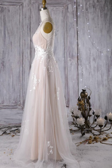 BMbridal Chic Ruffle Floor Length Tulle A-line Wedding Dress Online_5