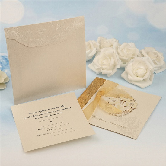 Classic Side-Fold Bowknot Style Hollow Invitation Cards (Set of 50)_8