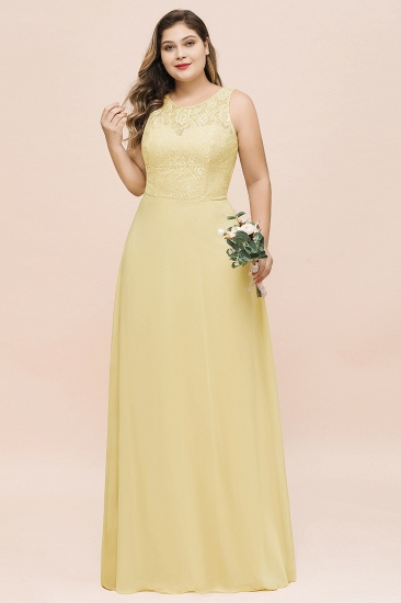 Plus Size Lace Sleeveless Affordable Daffodil Bridesmaid Dress_6