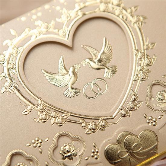 BMbridal Popular Tri-Fold Heart Style Invitation Cards (Set of 50)_6