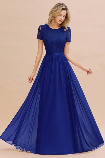 Elegant Chiffon Lace Jewel Short-Sleeves Affordable Bridesmaid Dress_26
