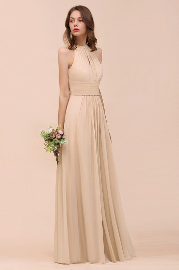 Elegant Chiffon Jewel Ruffle Champagne Affordable Bridesmaid Dress Online_53
