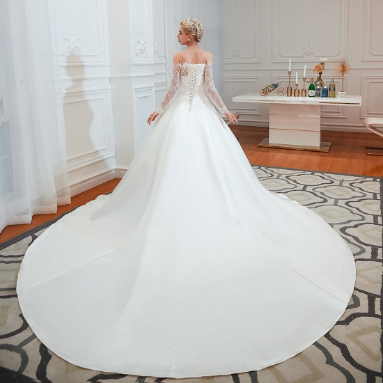 BMbridal Long Sleeve Off-the-Shoulder Satin Wedding Dress With Lace_4
