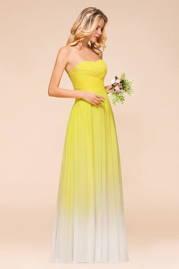 Fashionable Sweetheart Ruffle Yellow Ombre Bridesmaid Dress_7