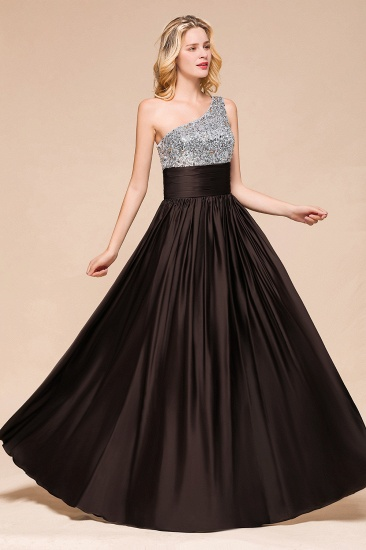 Affordable One Shoulder Sequins Long Bridesmaid Dresses with Ruffle_5