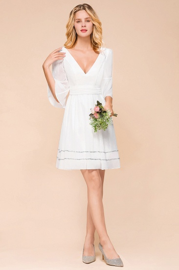 Chic V-Neck 3/4 Sleeves Short White Bridesmaid Dress with Sequins_6