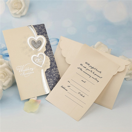 Elegant Tri-Fold Heart Style Invitation Cards (Set of 50)_2