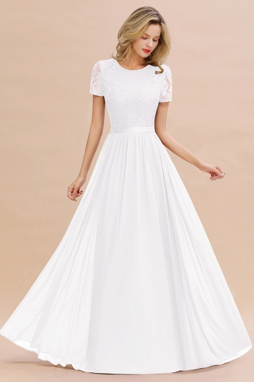 Elegant Chiffon Lace Jewel Short-Sleeves Affordable Bridesmaid Dress_1