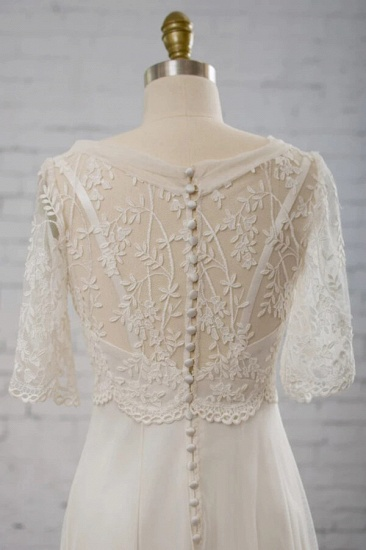 BMbridal Elegant Empire V-neck Tulle Wedding Dress A-line Appliques Short Sleeves Bridal Gowns On Sale_3