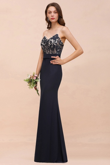 BMbridal Chic Mermaid Chiffon Lace Affordable Bridesmaid Dress with Spaghetti Straps_8