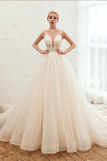 BMbridal Elegant Spaghetti-Starps Tulle Wedding Dress With Appliques_2